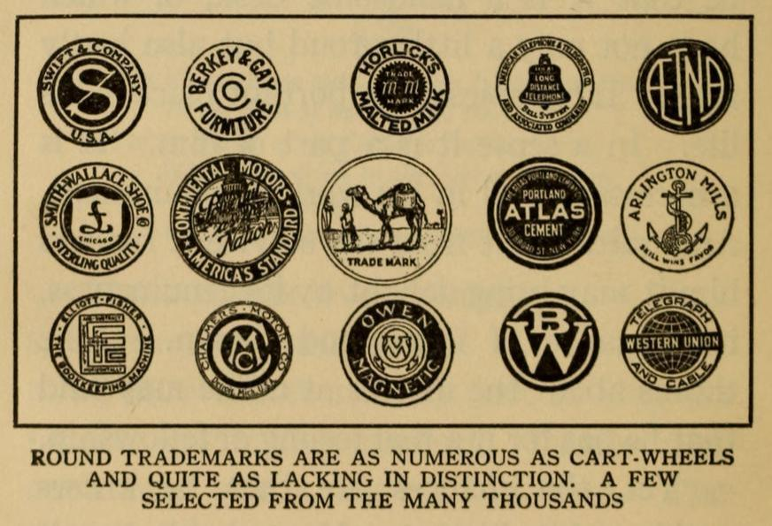 Round trademarks are as numerous as cart-wheels and quite as lacking in distinction. A few selected from the many thousands.