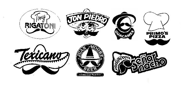 Mexican Italian mustache logos